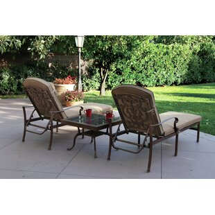 Astoria Grand Palazzo Sasso 3 Piece Chaise Lounge Set with Cushions