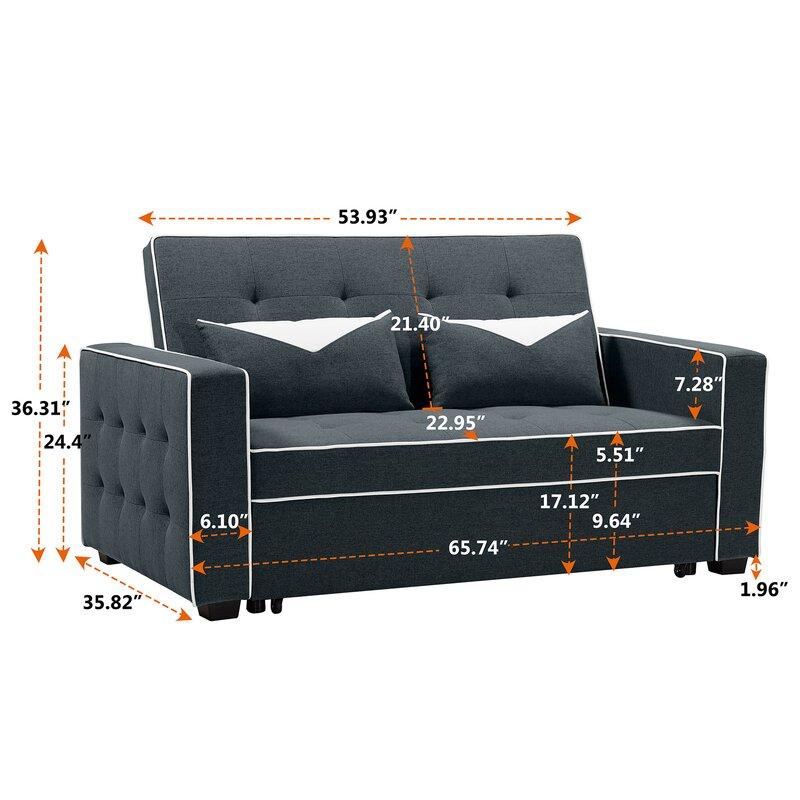Longshore Tides Dao Velvet 66 14 Square Arm Sofa Bed Wayfair