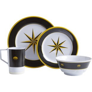 Decorated Melamine 16 Piece Dinnerware Set, Service for 4