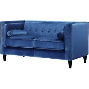 Roberta Velvet Chesterfield Loveseat