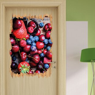 Red Berries On Fine Wooden Boards Wall Sticker By East Urban Home