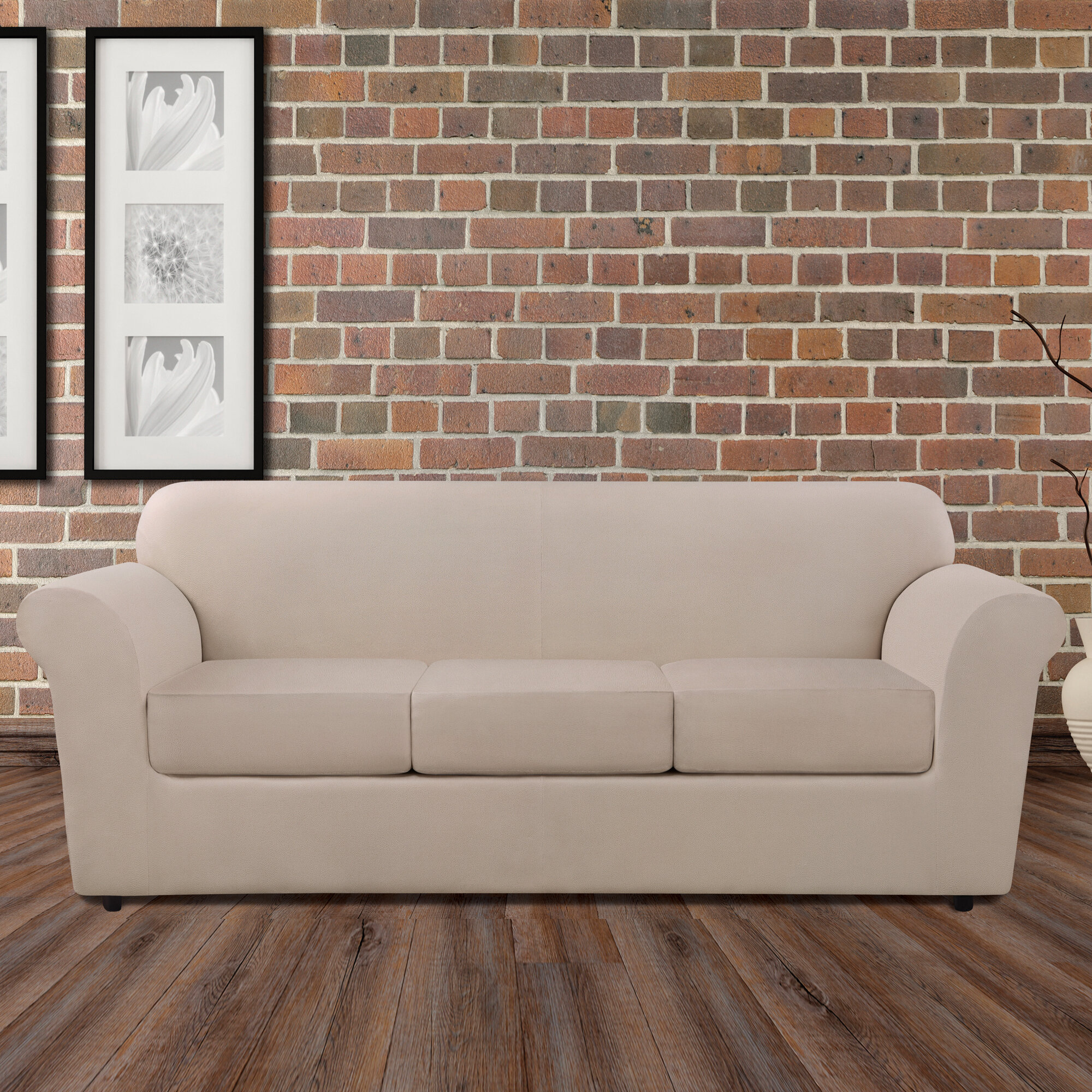 Swell Ultimate Heavyweight Stretch Leather 4 Piece Box Cushion Sofa Slipcover Set Download Free Architecture Designs Salvmadebymaigaardcom