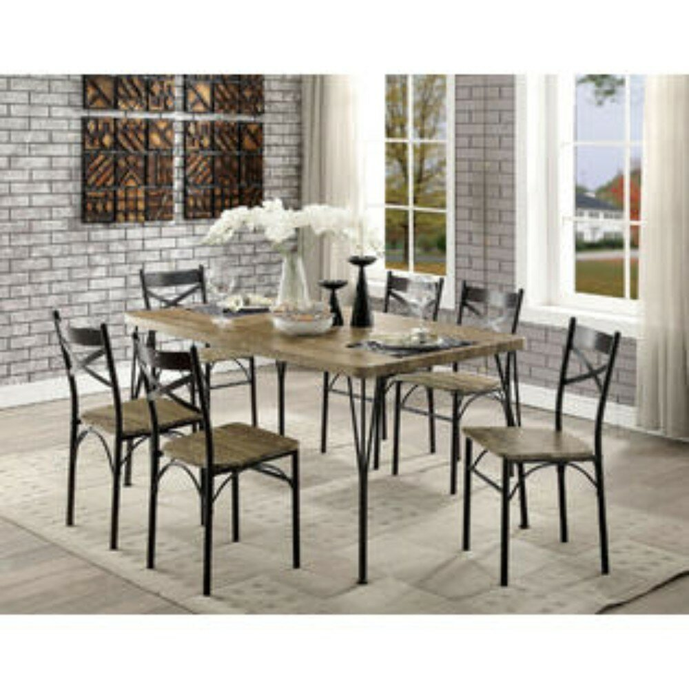 Williston Forge Banbury Industrial Style 7 Pc Dining Table Set Grey And Dark Bronze Finish Wayfair Ca