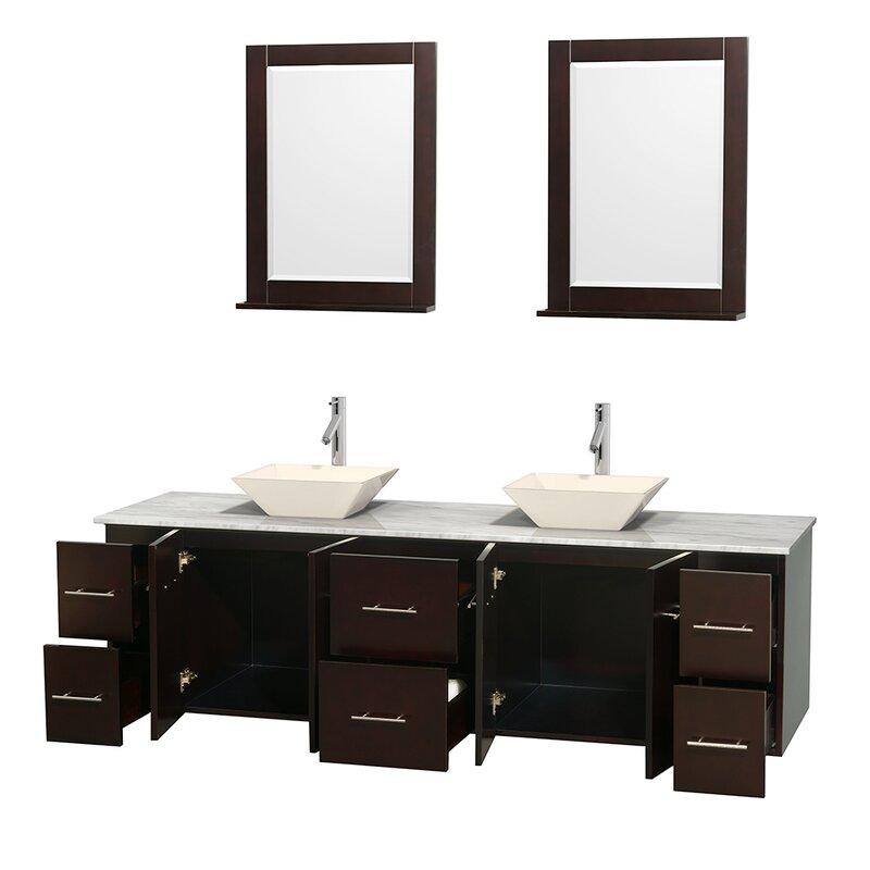 Wyndham Collection Centra 80 Double Espresso Bathroom Vanity Set Rh Wayfair Com Framed Mirror