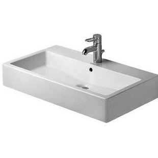 Best Deals Vero Ceramic 28 Wall Mount Bathroom Sink with Overflow By Duravit