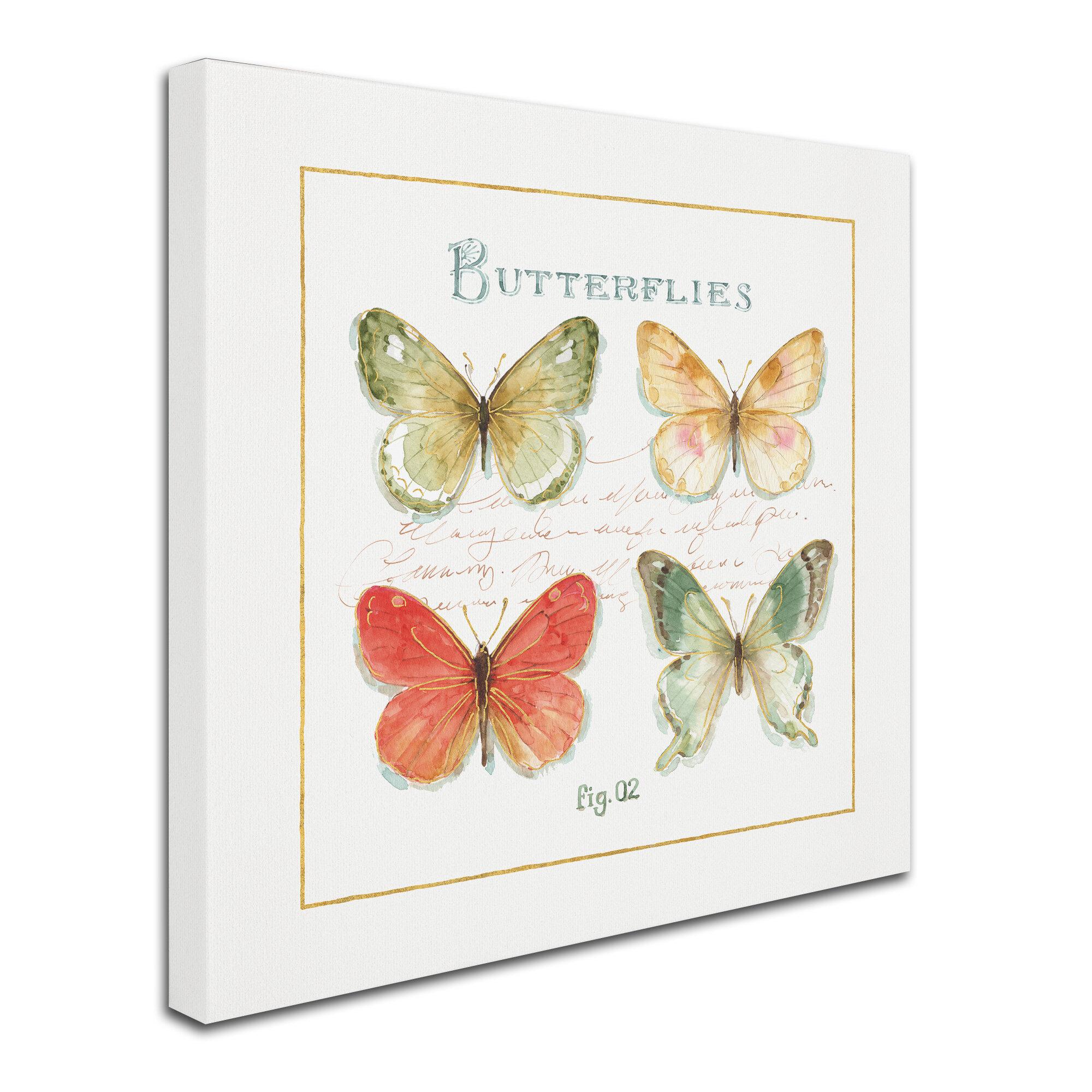 East Urban Home Rainbow Seeds Butterflies Iii Graphic Art Print On Wrapped Canvas Wayfair