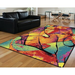Weisinger Orange/Blue Area Rug