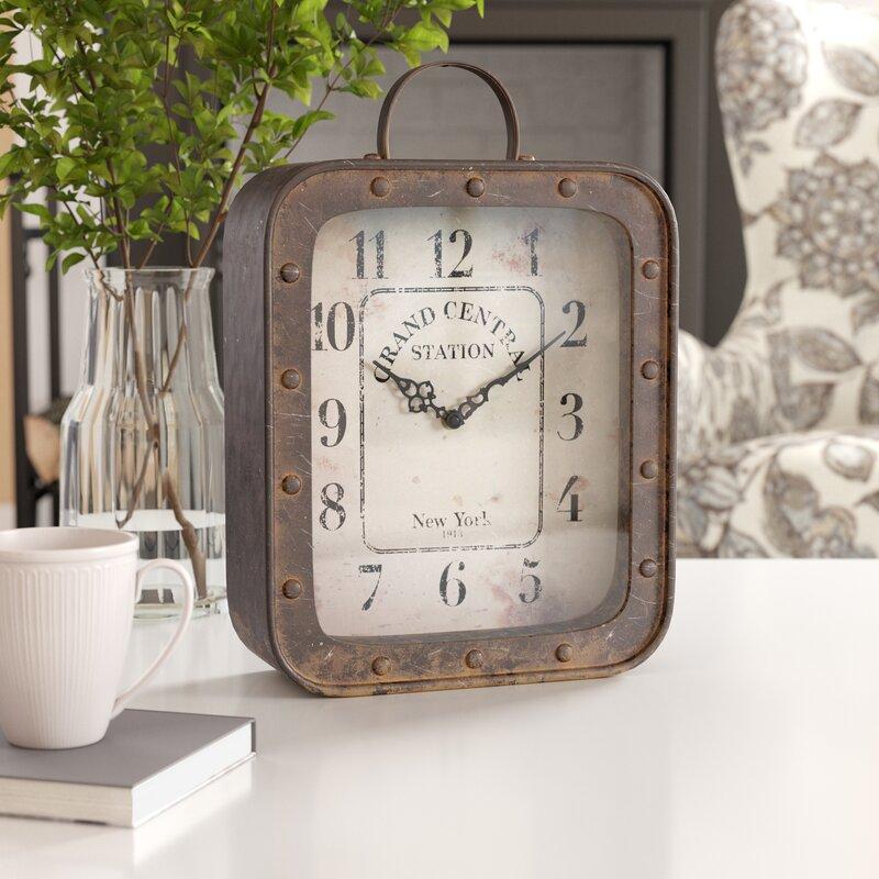 Rustic Table Clock: Laurel Foundry Modern Farmhouse Rustic Analog Table Clock