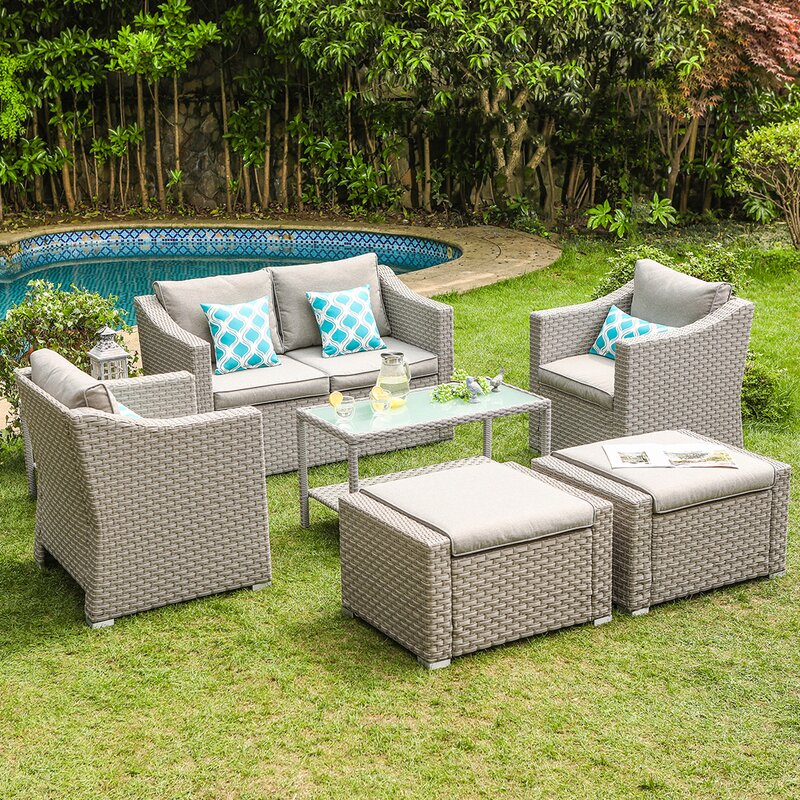 Areswell Outdoor Furniture Conversation Set Warm Gray 7-Piece Rattan Sofa Seating Group with Cushions