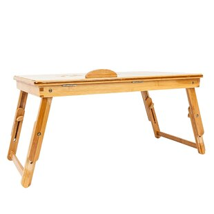 Faughil Trendy Double Flowers Engraving Pattern Adjustable Bamboo Desk