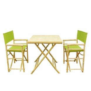 Bay Isle Home Shawmut Bamboo 3 Piece Outdoor Dining Set