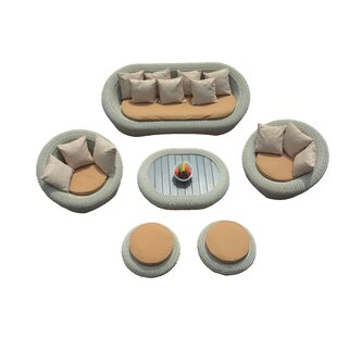 Golden 6 Piece Sofa Set With Cushions
