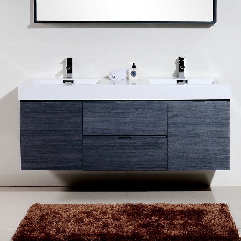 modern bathroom vanities. Tenafly 60  Double Wall Mount Modern Bathroom Vanity Set Contemporary Vanities You ll Love Wayfair