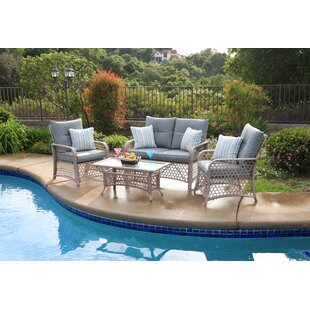 Burrell 4 Piece Rattan Sofa Seating Group with Cushions