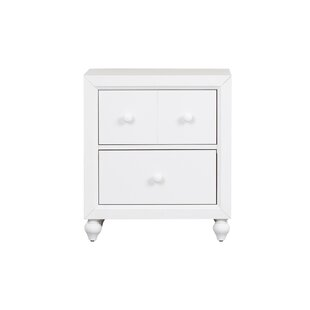Coffee 2 Drawer NightStand by Three Posts