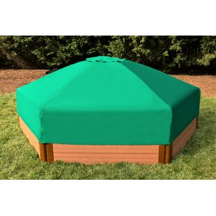 Tool-Free Classic Sienna One Inch Series 7 Ft X 8 Ft Composite Hexagon Sandbox With Collapsible Cover By Frame It All