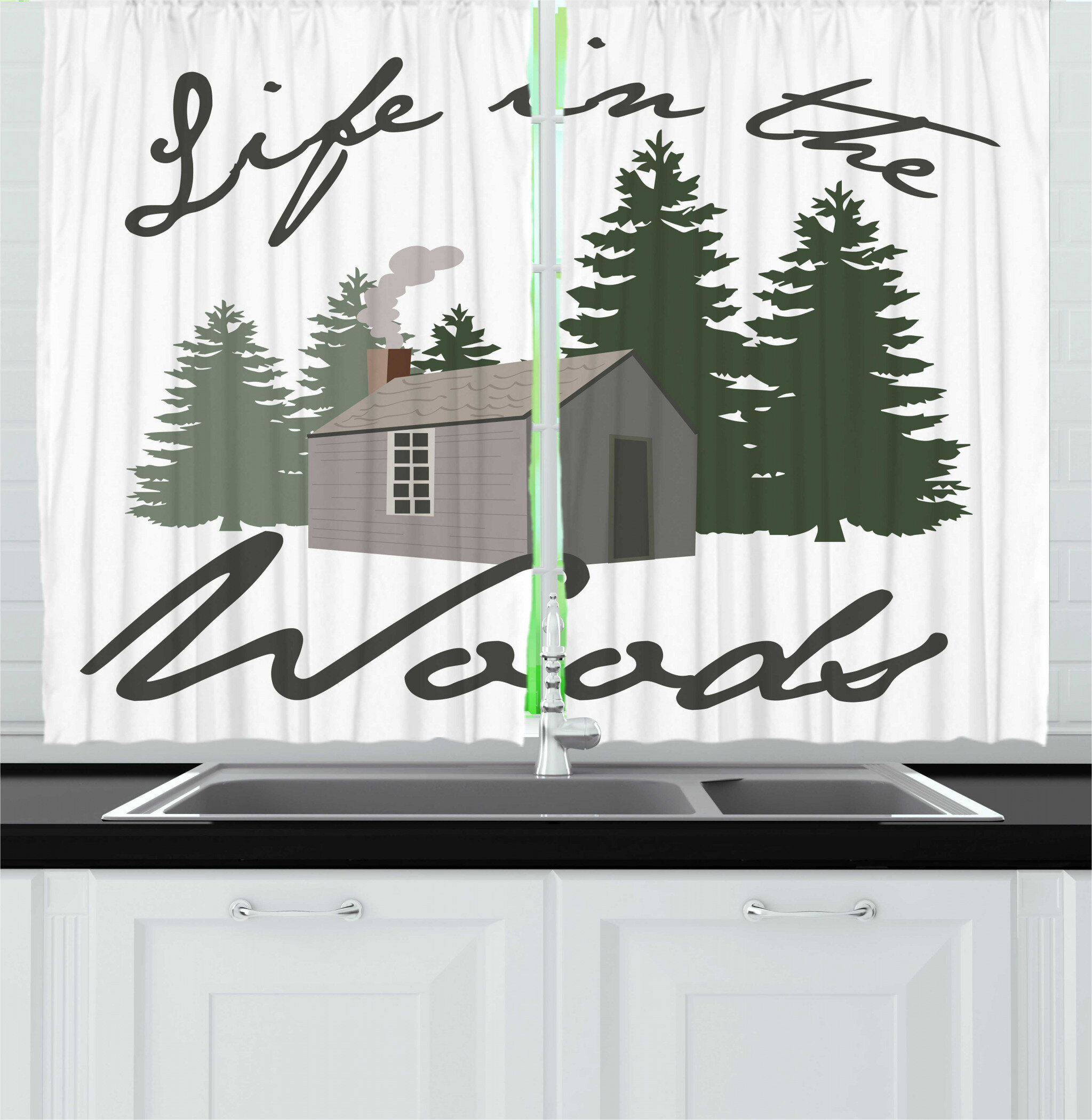 East Urban Home 2 Piece Log Cabin Image Of A Rustic Lodge In A Forest With Life In The Woods Message Kitchen Curtain Set Wayfair