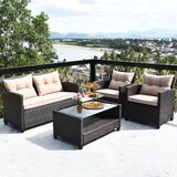 Andrene 4 Piece Rattan Sofa Seating Group With Cushions By Latitude Run Newshopfurnitures