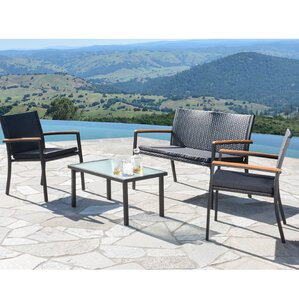 Byrdhill Outdoor Wicker 4 Piece Bench Seating Group Part 63