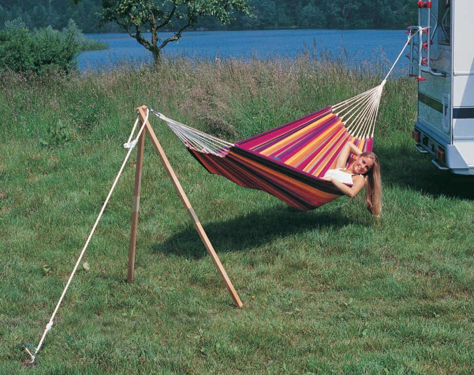 Medium image of madera wood standard hammock stand