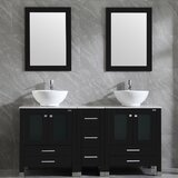 Marinus 60'' Double Bathroom Vanity Set with Mirror (Set of 5) by Ebern Designs