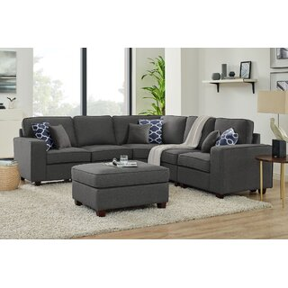 Arlingten Symmetrical Modular Sectional with Ottoman by Ebern Designs SKU:BB521291 Guide