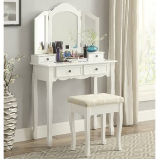 Roundhill Furniture Sanlo Wooden Vanity Set with Mirror