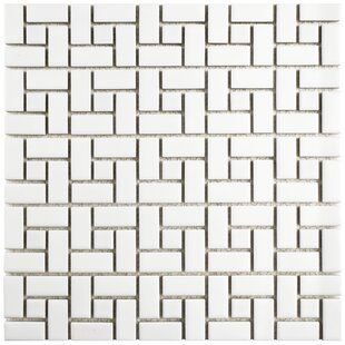 Retro Spiral Porcelain Mosaic Floor and Wall Tile in Matte White and Glossy White