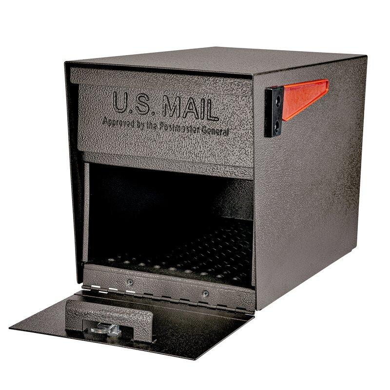Black Post-Mount Locking Mailbox Locking Keyed Galvanized Steel Oasis Commercial