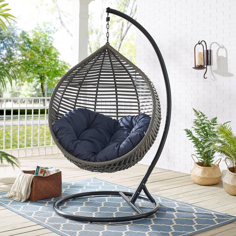 teardrop hanging basket chair with stand and thick cushion