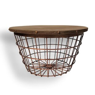 Hedley Small Wire Basket End Table by World Menagerie
