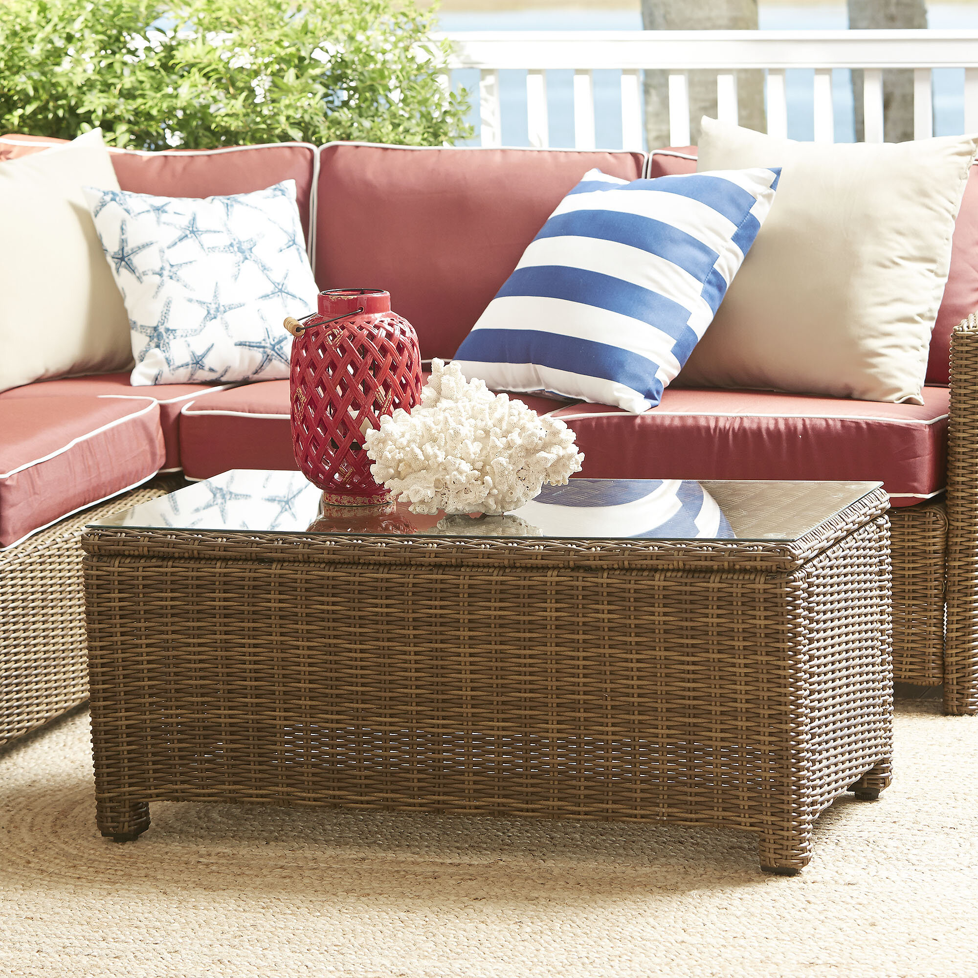 Birch lane lawson wicker rectangular coffee table birch lane geotapseo Image collections