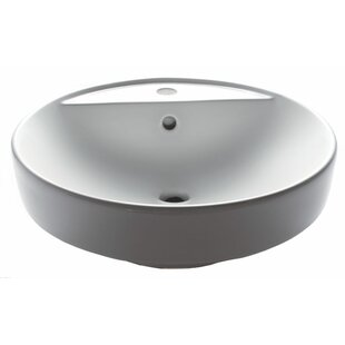 EAGO Ceramic Circular Vessel Bathroom Sink with Overflow