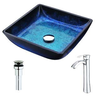Price Check Viace Glass Square Vessel Bathroom Sink with Faucet By ANZZI