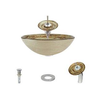 MR Direct Swirl Foil Undertone Glass Circular Vessel Bathroom Sink with Faucet