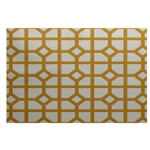 Fernwood Don't Fret Geometric Print Gold Indoor/Outdoor Area Rug