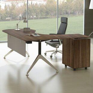 Bergerson Teardrop L-Shape Executive Desk