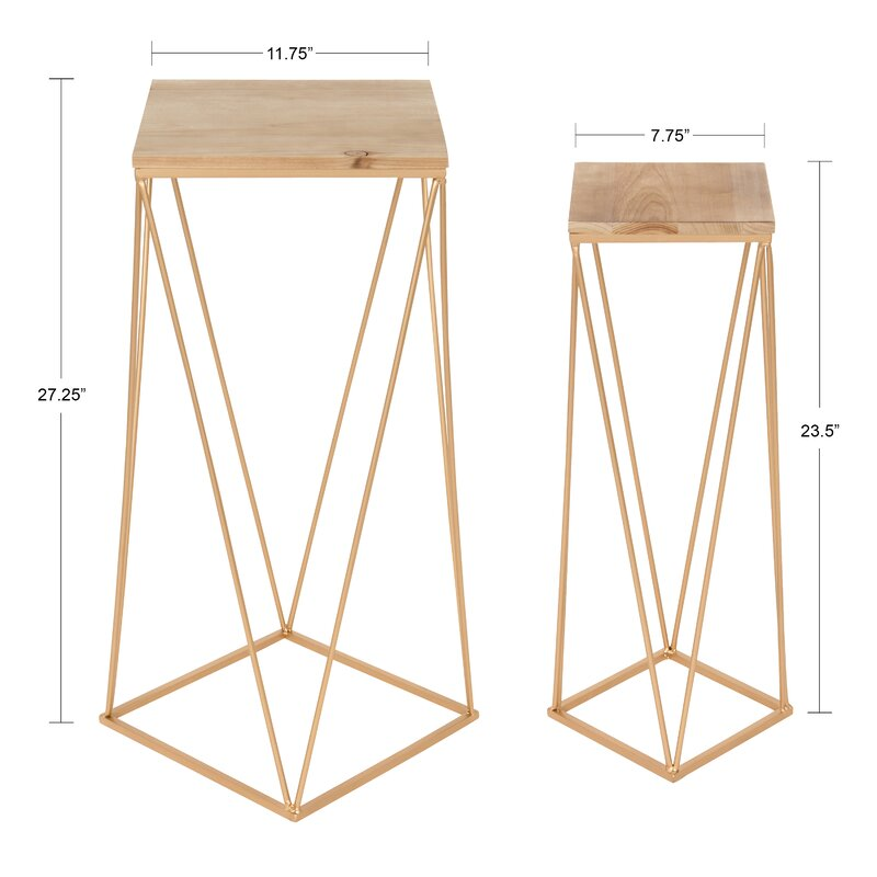 Mercury Row  Lofland Metal Accent 2 Piece Nesting Tables Color: Gold