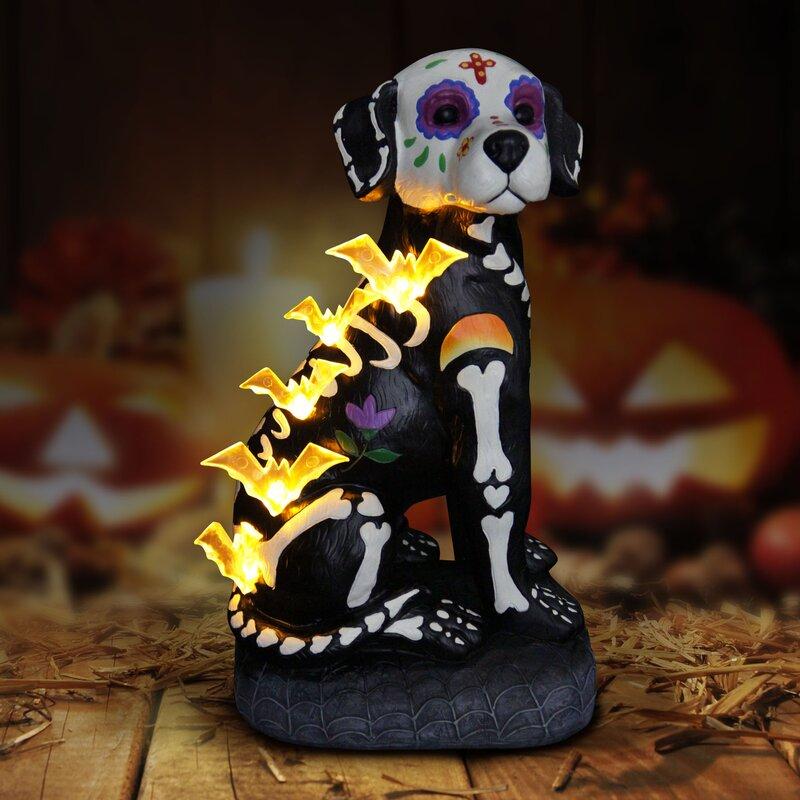 halloween skeleton dog figurine with led bats and timer