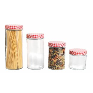 Glass Cylinder Kitchen Canister Set with Gingham Lids (Set of 4)
