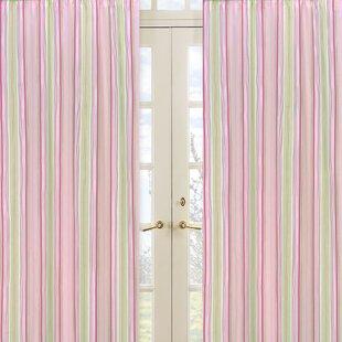 Jungle Friends Striped Semi Sheer Rod Pocket Curtain Panels Set Of 2