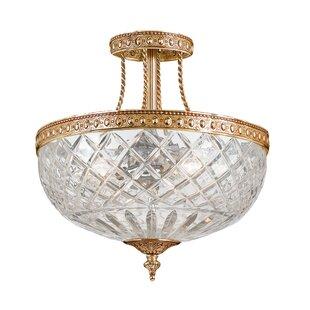 House of Hampton Aureolin Lead Crystal 3-Light Semi Flush Mount