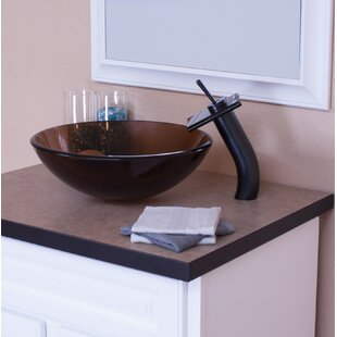 Great choice Glass Circular Vessel Bathroom Sink with Faucet By Topia