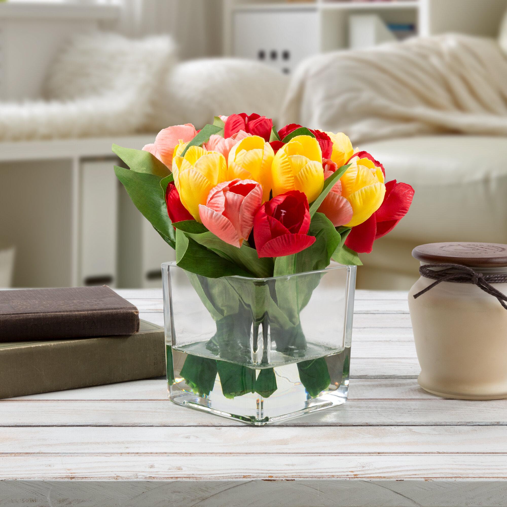 Tulip floral arrangement in glass vase reviews joss main reviewsmspy