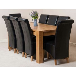 Review Stainbrook Chunky Kitchen Dining Set With 8 Chairs