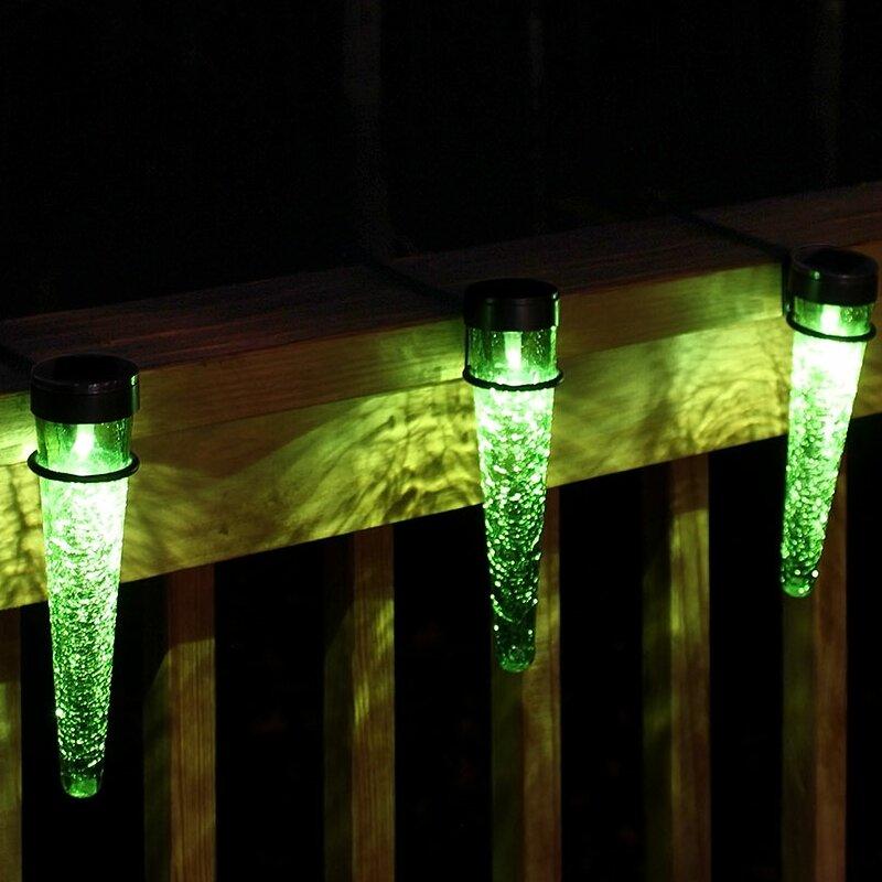 ACHLA Solar Cones 3 Light LED Rail Light  Bulb Color: Dark Green