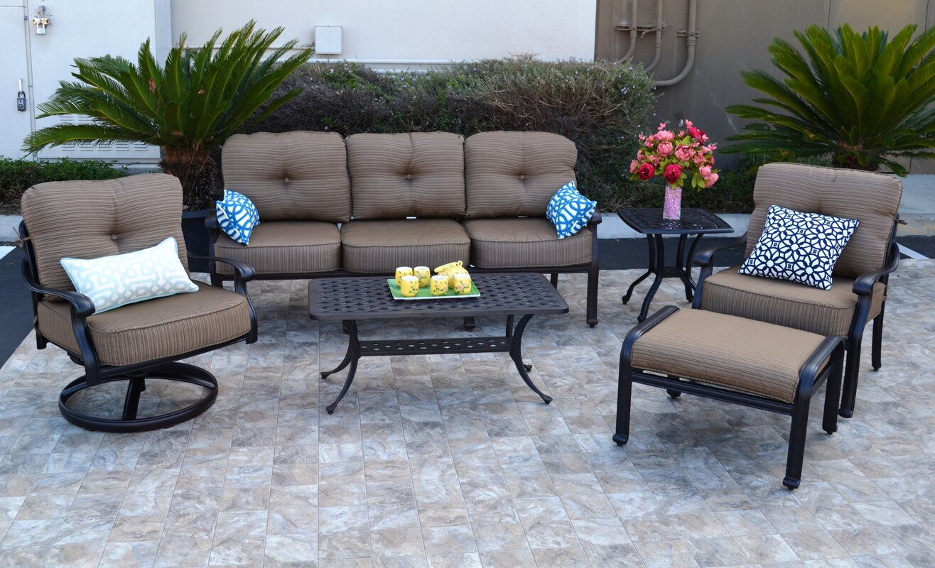 Darby Home Co Nola 6 Piece Sunbrella Sofa Set with Cushions