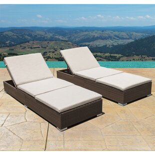 Brayden Studio Trombley Outdoor Wicker Reclining Chaise Lounge with Cushion (Set of 2)
