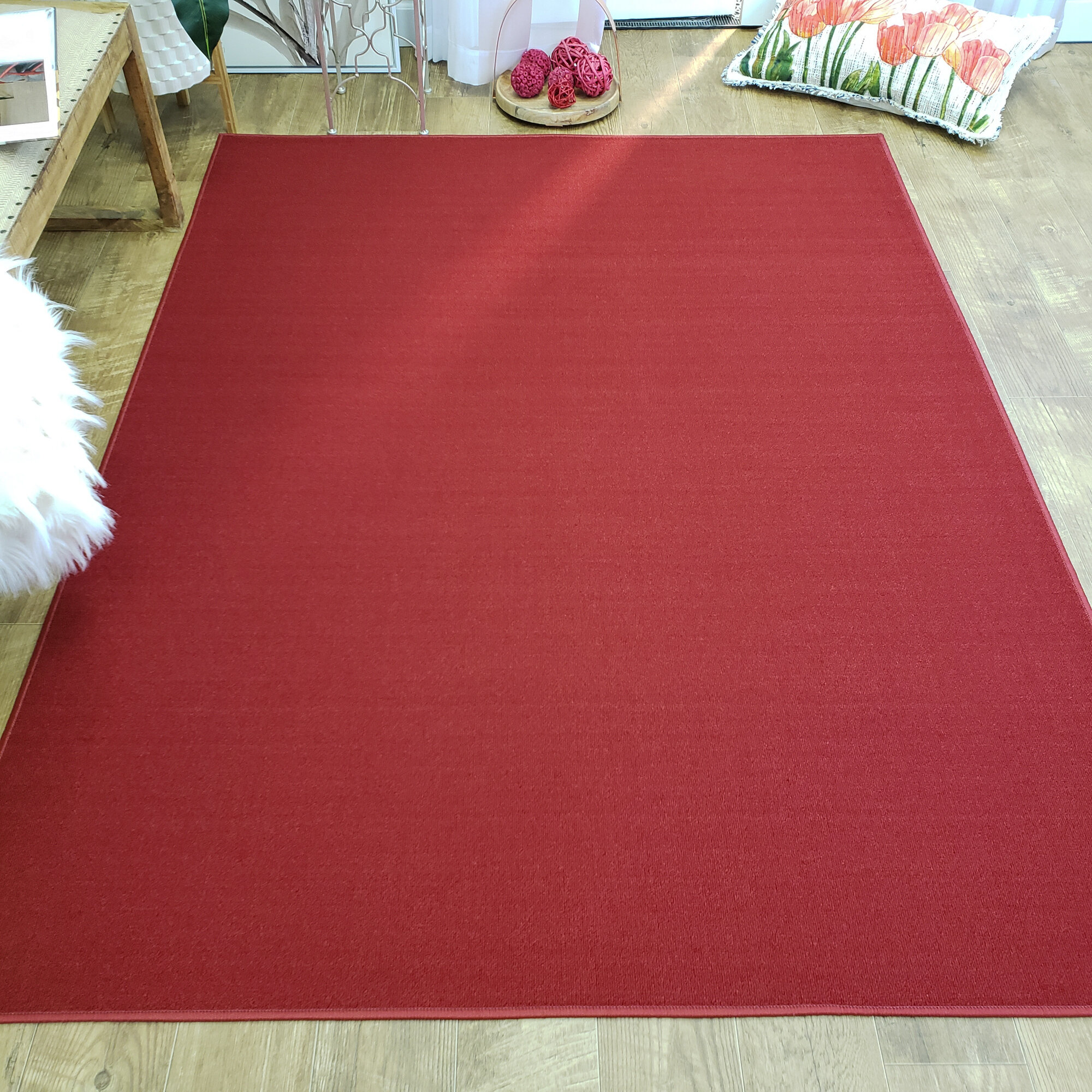 Burrillville Solid Single Plain Red
