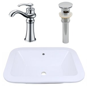 Purchase Ceramic Rectangular Dual Mount Bathroom Sink with Faucet and Overflow ByAmerican Imaginations